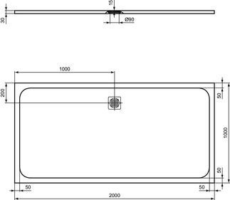 IS_UltraFlatS_K8327_PrListDrw_NN_shower-tray200x100